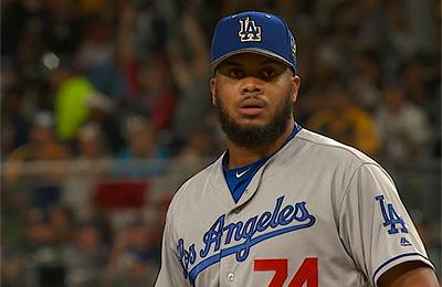 Kenley Jansen maakte in de achtste inning zijn opwachting tijdens de All Star Game.