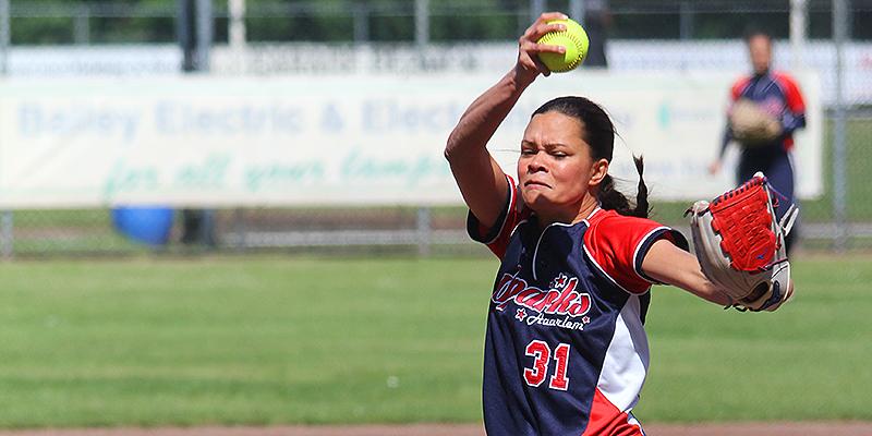 Rebecca Soumeru werd winnend pitcher voor Oolders Omaco Sparks Haarlem.