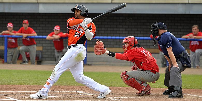 Kalian Sams sloeg tijdens het EK in Hoofddorp de meeste homeruns.