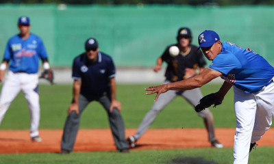 Pitcher Frailyn Florian in actie. De pitchers van T&A San Marino gooiden samen negen keer drie slag.