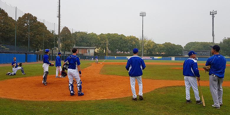 De Italianen hielden vandaag hun laatste training voor de start van de European Baseball Series.