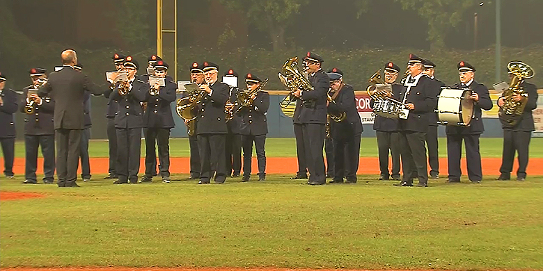 De volksliederen werden bij de start van de derde editie van de European Baseball Series in Verona gespeeld door en fanfare.