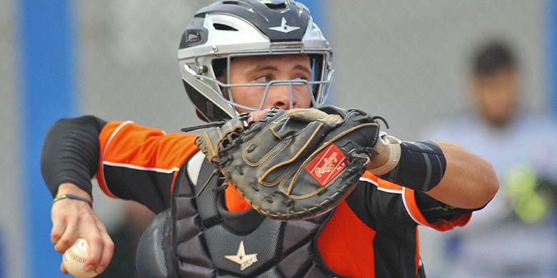 Paul Brands in actie voor het Nederlands Koninkrijksteam tijdens de European Baseball Series.