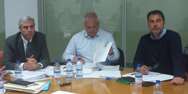 Het Italiaanse bondsbestuur met van links naar rechts: secretaris Giampiero Curti, voorzitter Andrea Marcon en vice-voorzitter Fabrizio De Robbio.