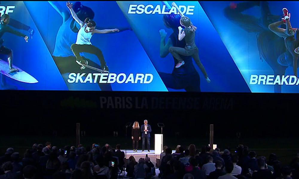 Aurélie Merle (links) en Jean-Philippe Gatien (rechts) aan het woord bij de presentatie van van de keuzesporten.
