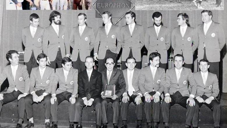 De ploeg van Europhon Milan die Europees clubkampioen werd in 1969.