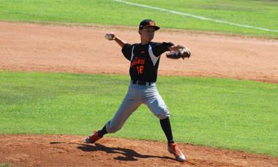 Jesse Holsheimer werd in de wedstrijd tegen Oostenrijk de winnend pitcher.