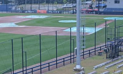 Het Gijang-Hyundai Dream Ballpark in Busan kreeg opnieuw te maken met slecht weer.