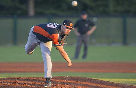 Startend pitcher Donny Breek stond in de eerste vijf innings maar één honkslag toe.