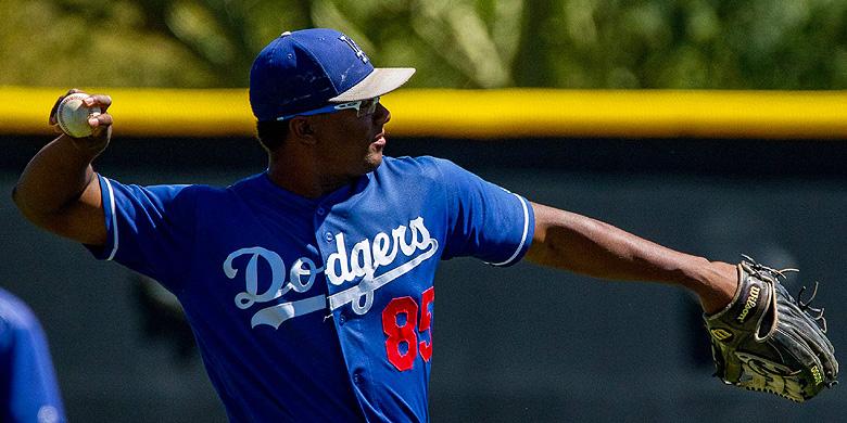Shakir Albert in actie tijdens Spring Training van Los Angeles Dodgers.