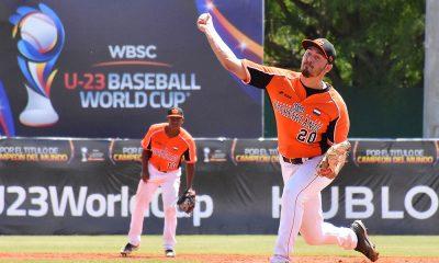 Pitcher Mike Groen in actie op het U23 wereldkampioenschap in 2019.